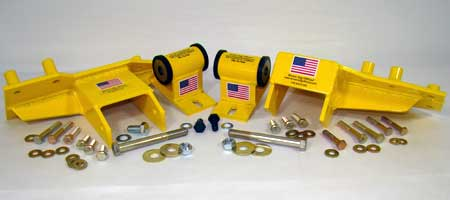Super Engine Kit includes engine block brackets, motor mounts, and Grade 8 hardware. Models available for Jeep 4.0L, 4.2L, 2.4L, and 2.5L engines.